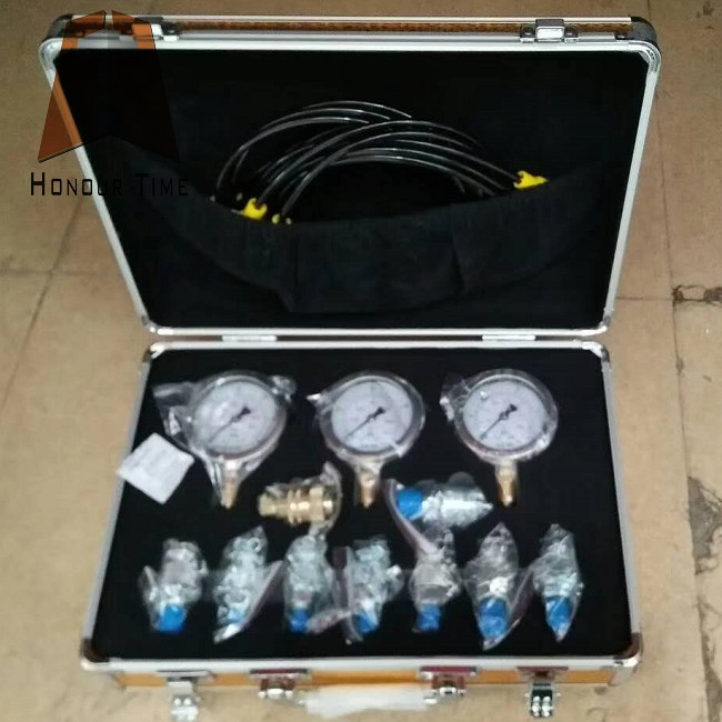 Oil Filled Manometer for excavator Hydraulic pressure testing kit with 3 pressure gauge